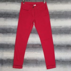 Sandro Paris Cuffed Red Skinny Jeans 25